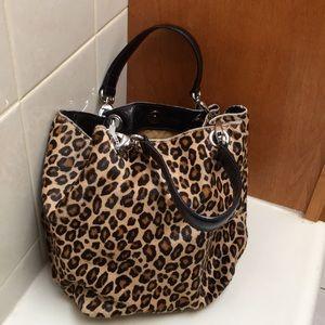Maurizio Taiuti Leopard Bucket Purse Leather